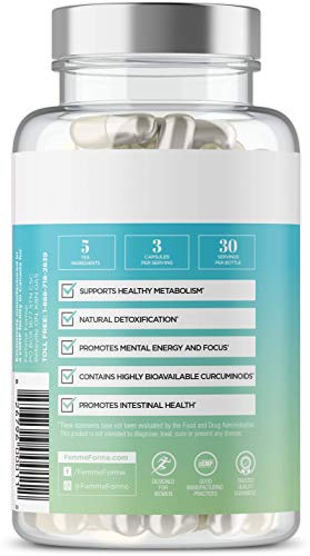 Tea-5 All-Natural Detox Supplement for Women: Herbal Detoxification with Curcuminoids, 5 Types of Tea to Boost Metabolism, Support Natural Energy, and Boost Gut Health, 90 Capsules 3