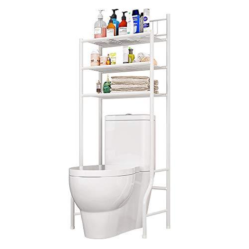 LENTIA Waschmaschinenregal Toilettenregale Waschmaschine Regal stabiles Badregal Badezimmerregal Bad WC Regal mit 3 Ablageböden weiß 61cm × 27cm ×175cm (typ1)