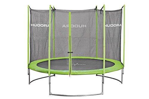 HUDORA Family Trampolin 300 cm, grün/schwarz - Garten-Trampolin mit Sicherheitsnetz, Leiter und Randabdeckung - 65630