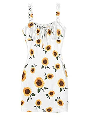 Made of strechy and soft material, comfortable to wear Floral print, frill shoulder strap, tie knot front, ruched bust, cami bodycon dress Good choise for party, vacation, beach, date, nightout, bar and club Perfect to pair with high heels and additi...