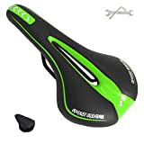 PUPOUSE Bike Seat Comfort- Most Comfortable Replacement Bicycle Saddle - Universal Fit for Mountain Bike Indoor Cycling Exercise Outdoor Bikes - Suspension Wide Soft Padded Bike Saddles (Green)