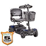 Drive Medical Spitfire Scout 4-EXT 4 Wheel Travel Power Scooter with Extended 15 Mile Range Batt and 5 Year Extended Warranty Bullet Points