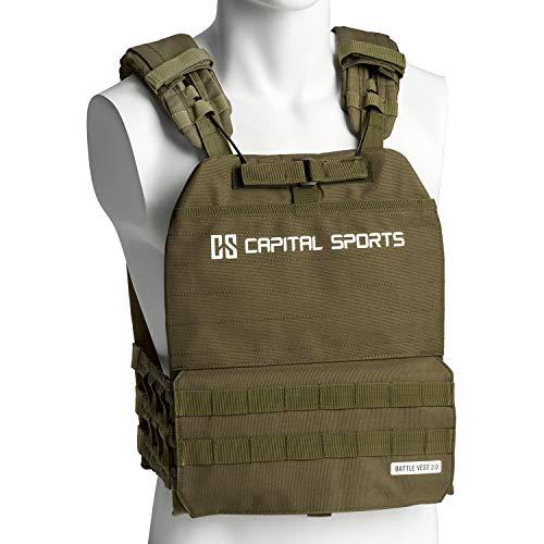 Capital Sports Battlevest 2.0 - Veste lestée, 2 Paires de plaques de Poids incluses, Confort élevé et répartition optimale du Poids grâce au Rembourrage épais, 29lbs - Vert Olive