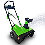 Project One Electric Snow Blower, 15-Amp  20-Inch Width Steel Auger Dual Electric Motor Snow Thrower, 180° Chute Rotation, 45' Vertical, 30 FT Throwing Distance, Electric Lightweight, Low Noise