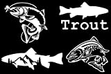 Trout Fishing Decal 4 Pack: Trout Jumping for Fly, Trout, Trout with Mountains, Jumping Trout (White, Small ~3.5')