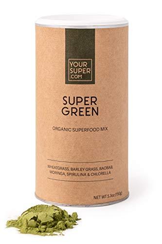 Your Superfoods Super Green Superfood - Bio Vegan Mix Trinkpulver zur Unterstützung des Immunsystems, aus Weizengras, Gerstengras, Spirulina und Chlorella