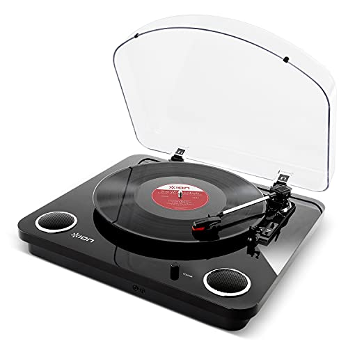 ION Audio Max LP – Platine Vinyle de Conversion avec Trois Vitesses et Enceintes Stéréo, Sorties USB et RCA - Finition Noir Brillant
