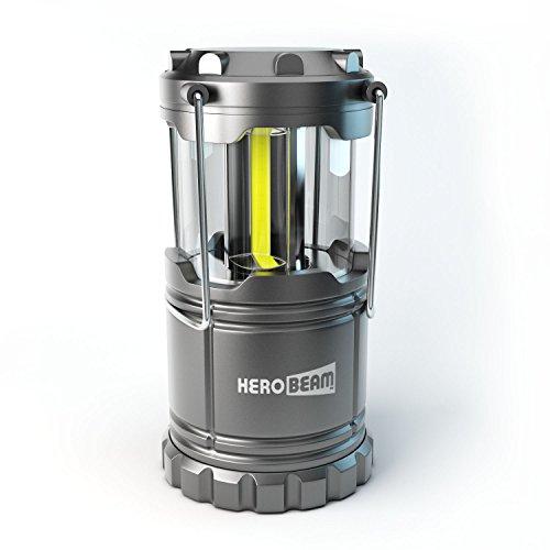 HeroBeam Lanterna LED - 2019 COB La tecnologia emette 300 LUMEN! - Lampada pieghevole da campeggio - Ottima Luce per il Campeggio, il Festival, l'Auto, il Capannone, la Soffitta, il Garage e in caso di Mancanza di Corrente - CON PILE