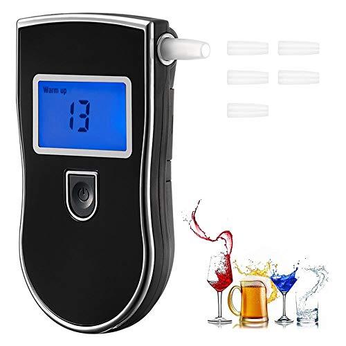 Hoonyer Etilometro Portatile Digitale, Alcool Test Professionale con Schermo LED Display Apparato respiratorio Personale,Include ugelli sensore 5 a semiconduttore di Alta precisione (Nero)
