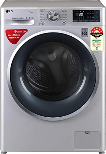 LG 8 kg 5 Star Inverter Wi-Fi Fully-Automatic Front Loading Washing Machine (FHT1408ZWL, Luxury...