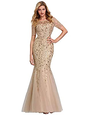 This evening dress is not padded, but with lining. Unique gold lace embroidery decorated at bodice, elegant and feminine. Features: illusion neckline, mesh at top, embroidery decorated, floor-length mermaid dress. Occasions: formal party, evening par...