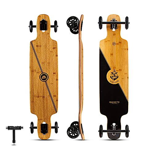 Glider Collection | Premium Longboard Skateboard | Large Big 100mm Wheels | Bamboo Deck with Hard...