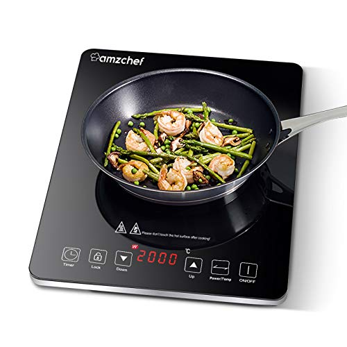 Plaque à induction, Amzchef plaque de cuisson à induction avec surface en verre cristal poli noir, design portable ultra-fin, commande par capteur et verrou de sécurité, 2000W, minuterie 3 heures