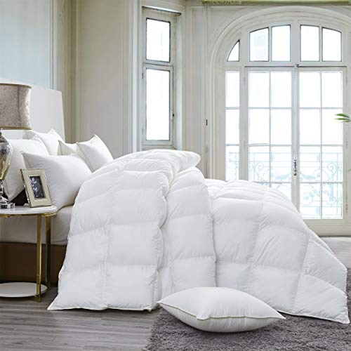 Luxurious 800 Thread Count HUNGARIAN GOOSE DOWN Comforter Duvet Insert - King / Cal King Size, 750 Fill Power, 50 oz Fill Weight, Premium Baffle Box, 100% Egyptian Cotton Cover (White)