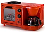 Americana EBK-200R Retro Nostalgia 3-in-1 Breakfast Maker Station 4 Cup Coffeemaker, Toaster Oven with Timer, Red