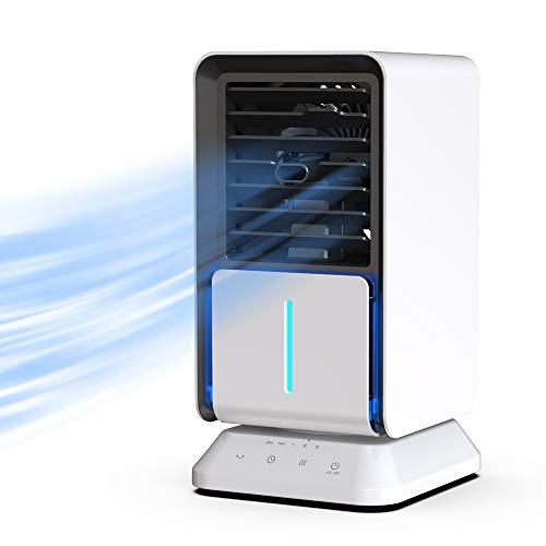 AiHom Luftkühler mit Verdunstungskühlung Klein, 6 Stunden Wasserkühlung Klimagerät Mobil Mini mit Luftbefeuchtung und Nachtmodus, mit Wasserkühlung, Klima,Weiß
