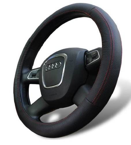 D8 Universal Fit Leather Steering Wheel Cover Medium Size in...