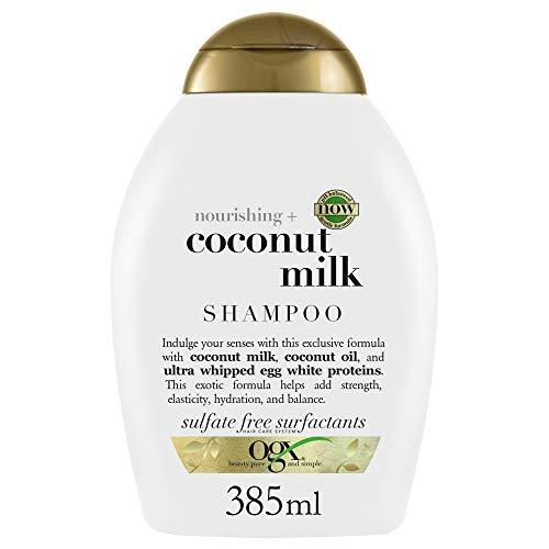 OGX Shampoo, Nourishing, Coconut Milk, con Latte di Cocco, Proteine dell'Uovo e Olio di Cocco, Capelli Elastici, Forti, Idratati, 385 ml