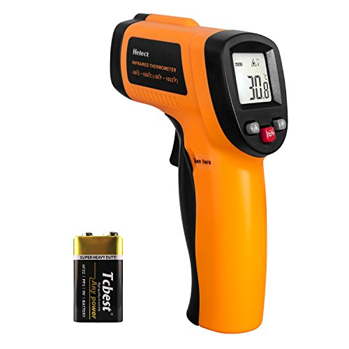 Helect Non-Contact Digital Laser Infrared Thermometer Temperature Gun with LCD Display -58°F to 1022°F (-50°C to 550°C) , Orange