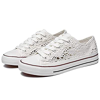 Top Standard and Fashionable : The womens white sneakers with knitted mesh upper material is breathable enough, especially for hot summer weather. All the shoes are designed with standard and comfort in mind, tone on tone adjustable laces are very fl...