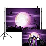 Allenjoy 7x5ft Happy Halloween Backdrop Night Purple Sky and Moon Jack O'Lantern Pumpkin Lantern Scary Graveyard Photography Background Children Party Decorations Cake Table Banner Photo Studio Booth