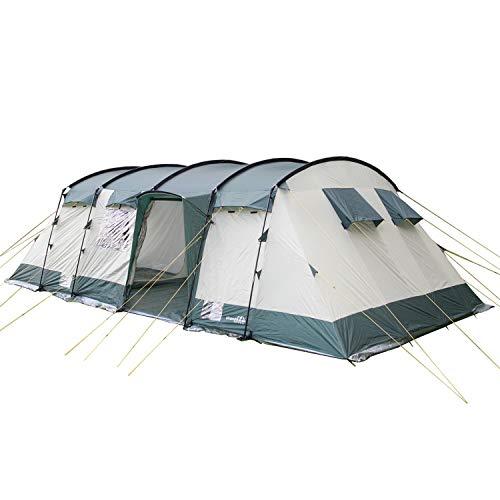 Skandika Hurricane 12 Personen Familien-Zelt grün, wasserdicht durch starke 5000 mm Wassersäule. Großes, geräumiges und robustes Steilwand-Zelt, Tunnel-Zelt mit 4 Schlaf-Kabinen, Insekten-Netzen und über 2 m Stehhöhe (grün)