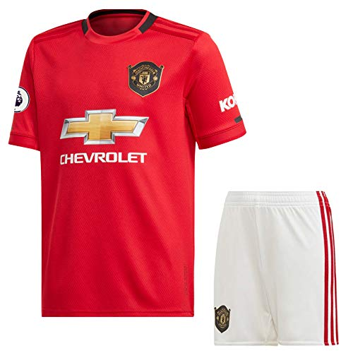 2019-20 Manchester United Home Jersey with EPL Patch/MANU Master Quality Football Jersey with Shorts/Imported Master Quality (M)
