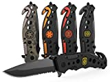 3-in-1 Police Tactical Knife for Law Enforcement and First Responders with Glass Breaker, Seatbelt Cutter and Steel Serrated Blade