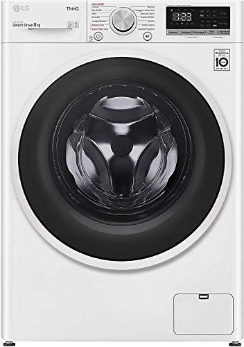 LG F4WT408AIDD Lavatrice a Carica Frontale 8 Kg, Libera Installazione, 1400 Giri/min, Intelligenza Artificiale, Funzione Vapore, 60 x 56 x 85 cm - Bianco