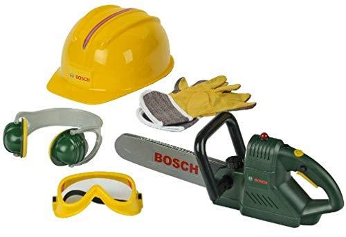 Theo Klein 8525 Motosega Bosch con accessori, motosega con suono di taglio e luce lampeggiante alimentati a batterie, Con guanti e occhiali da lavoro, Giocattolo per bambini a partire dai 3 anni