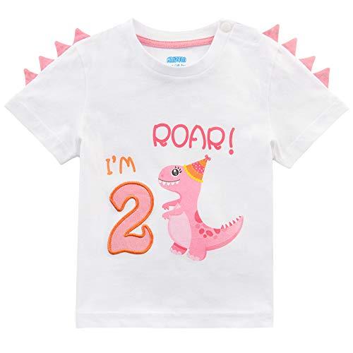 AMZTM Maglietta 2°Compleanno Bambine T-Shirt Ragazze Dinosauro Manica Corta Regalo 2 Anni Compleanno Articoli Tshirt 100% Cotone Stampa Top (Bianca, 2anni - 90)