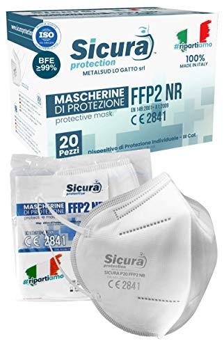 Eurocali 20 Mascherine FFP2 Certificate CE SICURA Made in Italy BFE ≥99% Prodotta e Confezionata in Italia