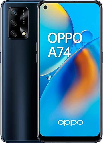 """OPPO A74 - Pantalla 6,43""""(AMOLED FHD+, 6 GB RAM+ 128 GB Almacenamiento, Qualcomm Snapdragon 662, Cuádruple cámara 48++2+2 MP, 5000 mAh(miliamperio-hora) con Carga rápida de 33 W) Negro [Versión ES/PT]"""