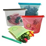 Food Storage Bags, Reusable Silicone Food Bags, 4 PCS 1000ml BPA Free and FDA Approval, Eco Friendly Convenience for Prep, Baby Food, Lunches (4, 1l)
