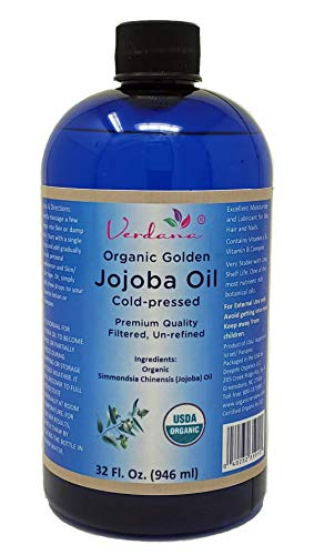 Organic Verdana USDA Certified Organic Golden Jojoba Oil, Cold Pressed, Unrefined, 16 Fl. Oz. - Deepthi Organics