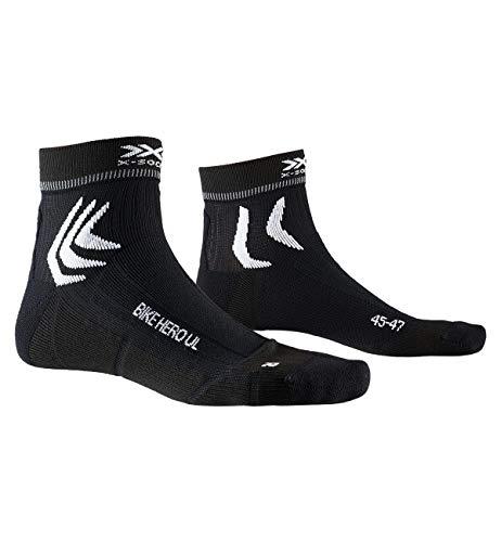 X-Socks Bike Hero UL, Calzini da Ciclismo Unisex-Adulto, Opal Black/Artic White, 42-44
