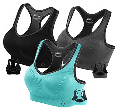'FITTIN Racerback Sports Bra for Women- Padded Seamless Activewear Bras for Yoga Gym Workout Fitness 3 Packs