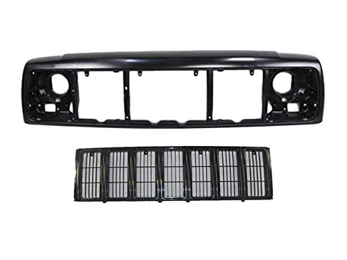 FOR 1997-2001 Cherokee Front Header Mounting Panel + Grille Black 2Pc CH1220115 CH1200209