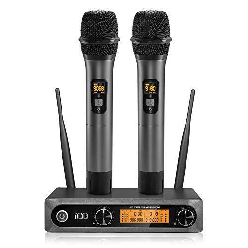 TONOR Microfono Senza Fili Doppio Microfono Wireless UHF Sistema Palmare Dinamico Wireless Professionale Mic, Home KTV Set per Karaoke, Party, DJ, Chiesa, Matrimonio, Riunione