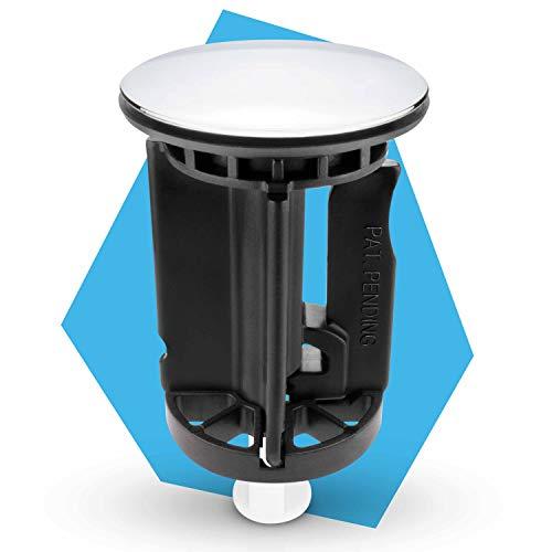 Bächlein Universal Waschbeckenstöpsel - der bewährte Abflussstopfen neu gedacht - Abfluss-Stopfen Chrom aus massivem Messing mit innovativem, verstellbarem Flügelstopfen und extra dicker Dichtung