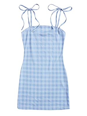 Adjustable strap, plaid pattern, boho short cami dress Self tie knot, above knee length, casual sleeveless mini sun dress Soft fabric has some stretch Suitable for daily life, beach, picnic, holiday, outing, street and party Please refer to the last ...
