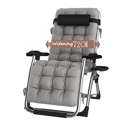 DQCHAIR Lehnender Schwerelosigkeits-Stuhl im Freien mit Getränkehalter, CWYSJ extrabreiter Verstellbarer Liegestuhl für Patio-Garten-Strand-Pool, mit Kissen-Unterstützung 200kg (Color : Silver)