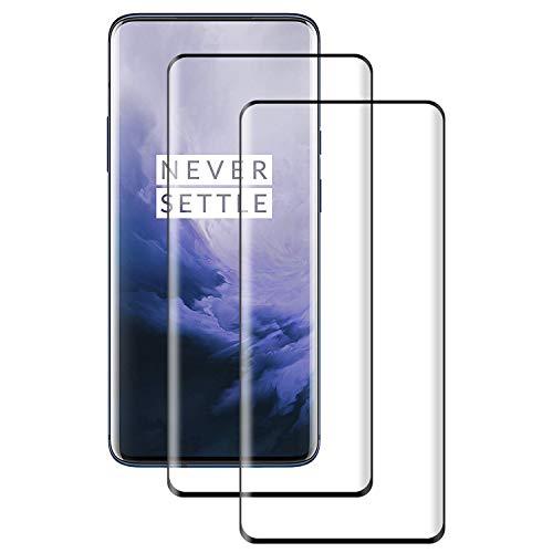 POOPHUNS Cristal Templado OnePlus 7 Pro,[2-Unidades] Protector de Pantalla para OnePlus 7 Pro[Alta Definicion, 9H Dureza, Resistente a Arañazos]