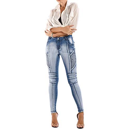 Pantalones Vaqueros Ajustados elásticos de Tiro Medio para Mujer, Pantalones Vaqueros de Tubo de Verano, Que Adelgazan, Levantamiento de glúteos, con Bolsillo L