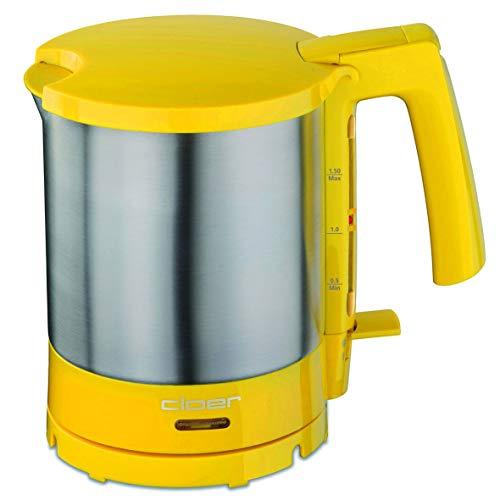 Cloer 4717-2 Wasserkocher, 2000 W, Trockengeh- und Überhitzungsschutz, innen liegende Füllmengenmarkierung, Gelb, Edelstahl, 1.5 liters