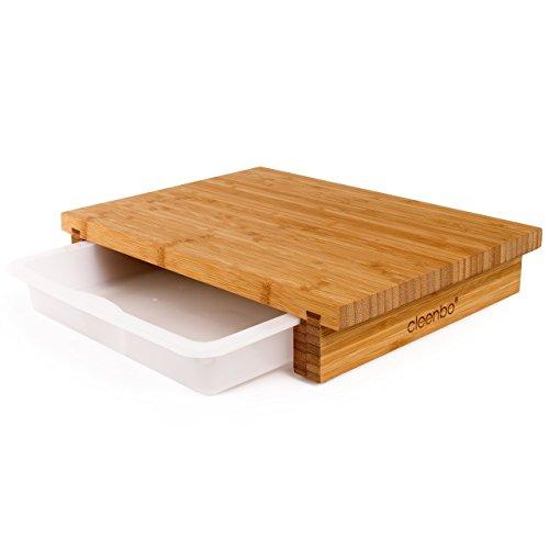 cleenbo Schneidebrett classic bamboo, Profi Holz Küchenbrett aus geöltem Bambus, Schneidebretter mit Schublade, Bambusbrett groß für Küche mit Auffangschale Kunststoff, antibakteriell 40 x 29 x 7 cm