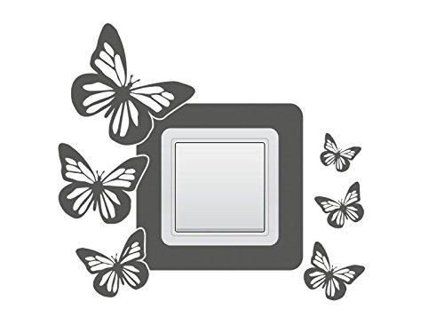 Wandtattoo Lichtschalter Steckdosentattoo Schmetterlinge Nr 2 Wandschalter Stromschalter Farbe Grün, Größe 18x16 cm   Einer