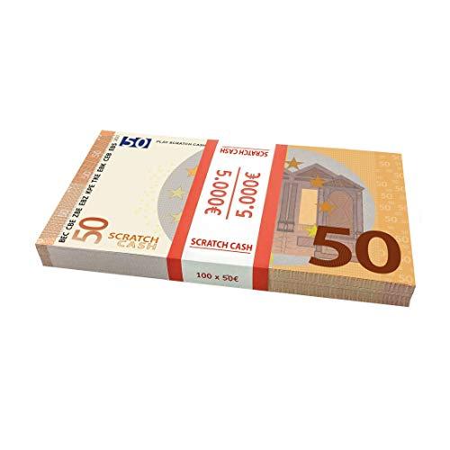 Scratch Cash 100 x 50 Euros para Jugar (del Mismo tamaño Que los Reales)