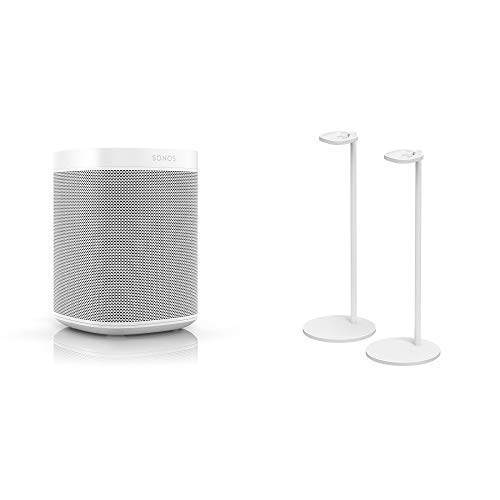 All-New Sonos One Two Room Set with Pair of Stands. The Smart Speaker for Music Lovers with Amazon Alexa Built-In for Wireless Music Streaming and Voice Control. (White)