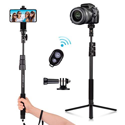 Andoer Perche Selfie Bluetooth, Trépied de Smartphone Portable en Alliage...
